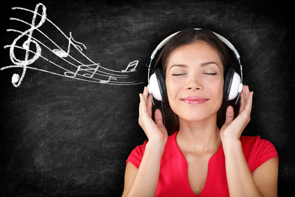Music - woman wearing headphones listening to music